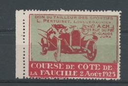 COURSE DE COTE DE LA FAUCILLE 2 AOUT 1925 - DON DU TAILLEUR   DES SPORTIFS PERTUISET LONS-LE SAUNIER - St CLAUDE JURA (* - Erinnophilie