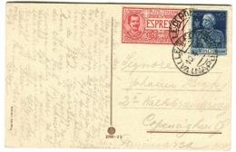 Espresso #11 70 C Rosso Su Cartolina Andata In Danimarca 1926 - 1900-44 Vittorio Emanuele III