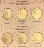 "Czech Republic Set Of 6 Coins: 20 Korun 2018-2019 ""Personalities"" Folder UNC - Repubblica Ceca"