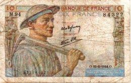 Billet Mineur De 10 Francs Année 1941 . O.22=6=1944.O. - 1871-1952 Antichi Franchi Circolanti Nel XX Secolo