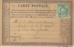1876- Carte Postale Précurseur Affr. 10 C Sage N°65 N / B - Storia Postale