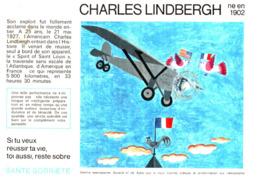 """S S A/Buvard Sécurité Sobriété Info Alcolisme """"Charles Lindbergh"""" (Santé Sobriété) (N=9) - Buvards, Protège-cahiers Illustrés"""
