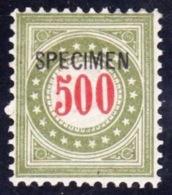 """Porto 1897 """"olivgrün - Vert-olive"""" Zumstein 22G II N Michel 22By Ga Mit Aufdruck Surcharge SPECIMEN * MLH (Zu CHF 35.00) - Postage Due"""
