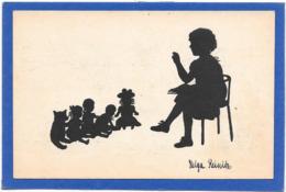 OMBRES CHINOISES - SILHOUETTES - Fillette Fait La Leçon à Ses Poupées  Signée Helga REINITZ - Silhouettes
