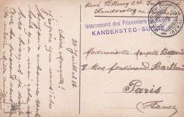OBLITERATION SUISSE INTERNEMENT PRISONNIERS GUERRE KANDERSTEG - Marcophilie