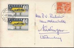 SCHWEIZ 2x 311 II, 530 MiF, Auf Auslandspostkarte,  Gestempelt: Lyss 13.IV.1953, Bahnpoststempel ZUG 501 - Cartas