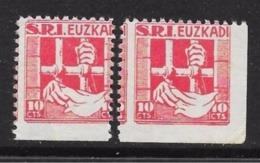 SPAGNA - 1937 -   S.R.I. - EUZKADI - 10 Cts  - 2 Valori Posta Privata * - Varietà - Cat.? € - L 1137 - Spanish Civil War Labels