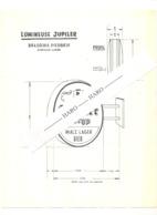 Plan D'encombrement De L'enseigne Lumineuse JUPILER - Brasserie PIEDBOEUF à Jupille - Bière, Bières,... (b261) - Planches & Plans Techniques