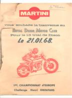 Farde (sans Programme ) ROYAL DISON MOTOR CLUB - Trial Du 21.01.1968 Championnat D'Europe - Pub. Martini, Moto (b261) - Programmes