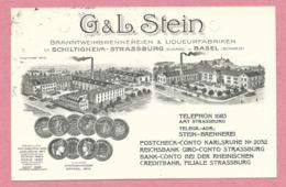 67 - SCHILTIGHEIM - STRASBOURG - Carte Pub - G & L STEIN - Liqueurfabriken - Brennerei - Trous D' Archivage - Réparée - Schiltigheim