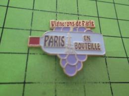 SP05v PINS PIN'S / Beau Et Rare : Thème BOISSONS / VIGNERONS DE PARIS BOUTEILLE VIN RAISIN - Boissons