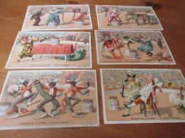 6 Chromo's Liebig, Farces De Clowns, Lijmrestjes Op Achterzijde, Zie Foto - Liebig