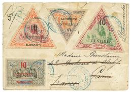 1902 N°31+ N°32 + N°33+ N°36 Obl. DJIBOUTI Sur Env (pd) RECOMMANDEE Pour PARIS Réexpédiée En ESPAGNE. TB. - Côte Française Des Somalis (1894-1967)