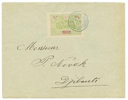 1910 OBOCK 1F (n°59) Obl. COTE FRANCAISE DES SOMALIS DJIBOUTI Sur Enveloppe Loacale. Superbe. - Côte Française Des Somalis (1894-1967)