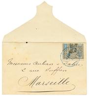 Timbre Coupé 25c Moitié Droite (n°54b) Obl. DJIBOUTI Sur Env. Pour MARSEILLE. Cote 400€. TB. - Côte Française Des Somalis (1894-1967)