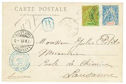 1901 OBOCK 15c + 20c Groupe Obl. COTE FRANCAISE DES SOMALIS DJIBOUTI Sur CARTE Recommandée Pour La SUISSE. RARE. Superbe - French Somali Coast (1894-1967)
