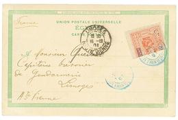 Timbre Coupé 20c Moitié Gauche (n°53a) Obl. DJIBOUTI Sur Carte Pour La FRANCE. Cote 400€. TB. - Côte Française Des Somalis (1894-1967)