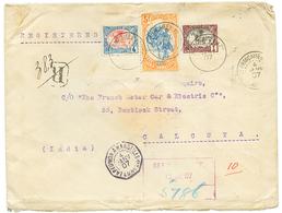1907 Variété CENTRE RENVERSE 5F + 1c + 4c Obl. DJIBOUTI Sur Env. RECOMMANDEE Pour CALCUTA (INDIA). TTB. - Côte Française Des Somalis (1894-1967)