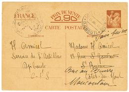 1941 FRANCE Carte INTERZONES 0,90 IRIS Obl. COTE DES SOMALIS DJIBOUTI Pour La FRANCE. TB. - Côte Française Des Somalis (1894-1967)