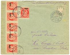CRETE : 1909 BAVARIA 2pf Canc. MÜNCHEN On Envelope To LA CANEE Taxed On Arrival With CRETE POSTAGE DUES 1l Strip Of 5 +  - Crète