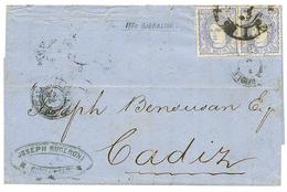 1870 SPAIN 50m (x2) On Cover From GIBRALTAR To CADIZ. Vf. - Gibraltar