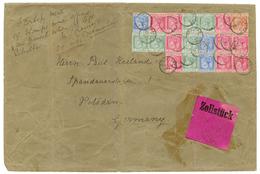 GIBRALTAR : 1891 Exceptional Franking With 5c(x6) + 10c(x9) + 25c(x3) + 40c Canc. GIBRALTAR + Pink Label ZOLLSTÜCK On La - Gibraltar