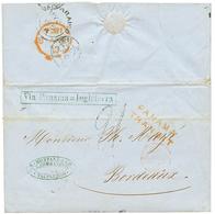 "1854 PANAMA TRANSIT + Boxed VIA PANAMA = INGLATERRA + ""21"" Tax Marking On Entire Letter From VALPARAISO To FRANCE. Verso - Chili"