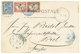1905 ETHIOPIA 20 On 2g Canc. ADIS-ABEBA + SOMALI COAST 1c+ 10c Canc. DJIBOUTI On Card To SWITZERLAND. Vf. - Ethiopie