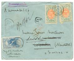 1910 1g(x2)+ 2g Canc. ADDIS-ABABA POSTES (french Type) On REGISTERED Envelope To SWITZERLAND. Scarce. Vf. - Ethiopie