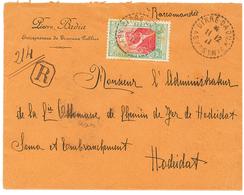 """ETHIOPIA To YEMEN"" : 1911 4g Canc. French Cachet DIRE-DOUA ABYSSINIE On REGISTERED Envelope To ""CHEMIN DE FER De HODEID - Ethiopie"