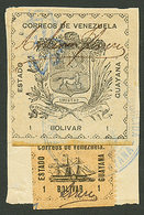VENEZUELA : GUAYANA 1b(n°86) + 1b(n°91) Canc. On Piece. Scarce. Vf. - Venezuela