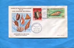 MARCOPHILIE-cote Des Somalis- Timbres Sur Enveloppe Fdc Non Comptée N°311 +A31 Coquillages - Côte Française Des Somalis (1894-1967)