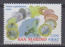 San Marino 2001 Intro Euro 1v ** Mnh (44655) Face 0.62€ - Europese Gedachte