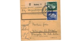 Allemagne  - Colis Postal  - Départ Nürnberg  - Pour Tedingen ( Theding  ) Par Forbach   -     30-11-43 - Duitsland
