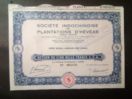 1 Sté INDOCHINOISE HEVEAS (Action) Annulé Collector - Shareholdings