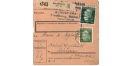 Allemagne  - Colis Postal  - Départ Strasbourg - Pour Kochern  ( Cocheren ) - 10-12-43 - Allemagne
