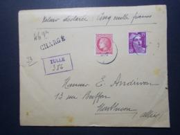 Marcophilie - Lettre Enveloppe Obliteration - CHARGE Valeur Déclarée - TULLE (2515) - Postmark Collection (Covers)