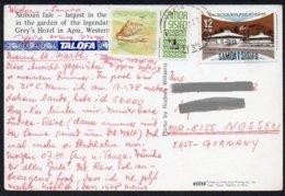 (West-) Samoa  1977  MiNr. 262, 345  Auf Karte AK/ Card ; Garten Von Grey's Hotel - Samoa