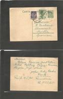 ROMANIA. 1935 (12 Feb) Resita - Spain, Seville. 3 Lei Green Stat Card + 2 Adtls Tied Cds. Scarce Destination. - Rumania