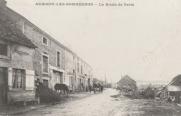 AUBIGNY LES SOMBERNON - LA ROUTE DE PARIS - BELLE CARTE ANIMEE - ATTELAGE - CHEVAL - TOP !!! - France