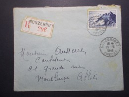 Marcophilie - Lettre Enveloppe Obliteration - Timbres - NOUZERINE - Recommandée 1948 (2521) - Postmark Collection (Covers)