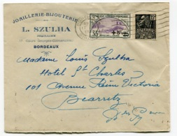 RC 13648 FRANCE 1932 ORPHELIN N° 166 SUR LETTRE D'UNE BIJOUTERIE JOAILLERIE A BORDEAUX GIRONDE TB - 1921-1960: Modern Tijdperk
