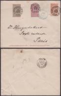 BELGIQUE EP 10C + COB 68+69 DE BRUXELLES 22/03/1894 VERS PARIS   (DD) DC-4025 - 1894-1896 Expositions