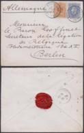 BELGIQUE COB 28+31 SUR LETTRE DE BRUXELLES 05/09/1881 VERS BERLIN (DD) DC-4031 - 1869-1883 Léopold II