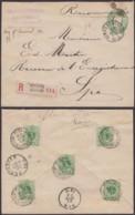 BELGIQUE EP 10C +COB45 X5 AU VERSO EN RECOMMANDE DE VERVIERS 21/09/1892 VERS SPA (DD) DC-4032 - 1869-1888 Liggende Leeuw