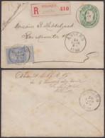 BELGIQUE EP 10C +COB 60 EN RECOMMANDE DE ANVERS 26/02/1896 (DD) DC-4033 - 1893-1800 Fijne Baard