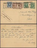 BELGIQUE EP 20+5 COB 193+203 X2 EN EXPRES DE NEDERBRAKEL 14/10/1927 VERS GAND (DD) DC-4039 - 1922-1927 Houyoux