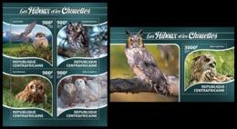 CENTRAL AFRICA 2015 - Owls - YT CV=40 €, 3765-8 + BF807 - Búhos, Lechuza