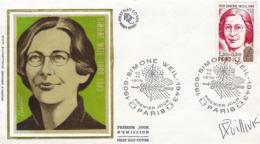 FDC 1er Jour : Simone Weil 10/11/1979 N° 2032A Signé René QUILLIVIC - FDC