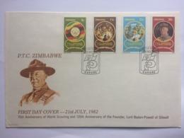 ZIMBABWE - 1982 75th Anniversary Of World Scouting FDC Harare Postmarks - Zimbabwe (1980-...)